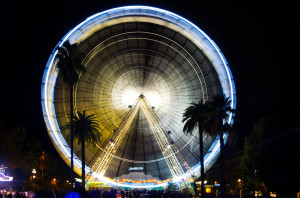 observation wheel at night
